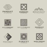 Sistema de los logotipos entarimado, tablero del entarimado, lamina del vector, solando Tablero de madera Foto de archivo