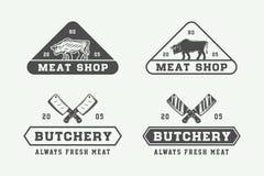 Sistema de los logotipos de la carne, del filete o del Bbq de la carnicería del vintage, emblemas, insignia ilustración del vector