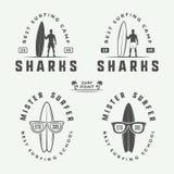Sistema de los logotipos que practican surf del vintage, emblemas, insignias, etiquetas Imágenes de archivo libres de regalías