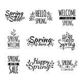 Sistema de los logotipos retros monocromáticos del vintage, iconos stock de ilustración