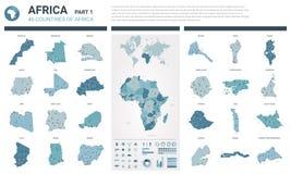 Sistema de los mapas del vector El alto detalló 46 mapas de países africanos con la división administrativa y ciudades Mapa polít ilustración del vector