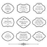 Sistema de los marcos y de etiquetas del vintage aislado en blanco Fotografía de archivo
