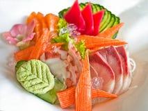 Sistema de los mariscos del Sashimi Imágenes de archivo libres de regalías