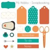Sistema de los materiales de Scrapbooking con los elementos del planificador Imagen de archivo libre de regalías