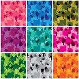 Sistema de los modelos de la tela del camuflaje - diversos colores libre illustration