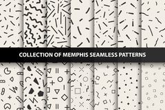 Sistema de los modelos inconsútiles de Memphis Moda 80-90s Usted puede encontrar fondos inconsútiles en el panel de las muestras Imagen de archivo libre de regalías
