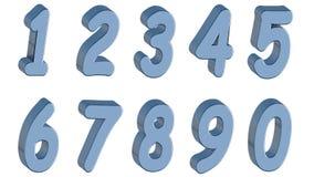 Sistema de los números 3d Estilo azul de los tebeos en el fondo blanco Aislado, fácil de utilizar Imágenes de archivo libres de regalías