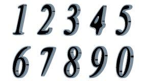 Sistema de los números 3d Fuente negra con los lados metálicos, en el fondo blanco Aislado, fácil de utilizar Foto de archivo libre de regalías
