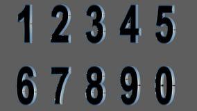 Sistema de los números 3d Fuente negra con los lados metálicos, en fondo gris Aislado, fácil de utilizar HACER FRENTE A LA VERSIÓ Imagenes de archivo