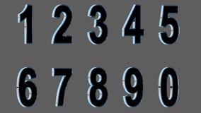 Sistema de los números 3d Fuente negra con los lados metálicos en fondo gris , fácil de utilizar HACER FRENTE A LA VERSIÓN CORREC Fotografía de archivo libre de regalías