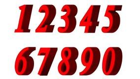 Sistema de los números 3d Fuente roja en el fondo blanco Aislado, fácil de utilizar Imagen de archivo