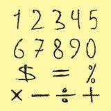 Sistema de los números negros, muestras matemáticas Figuras desaliñado dibujada Foto de archivo