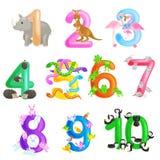 Sistema de los números ordinales para los niños de enseñanza que cuentan con la capacidad de calcular alfabeto del ABC de los ani stock de ilustración
