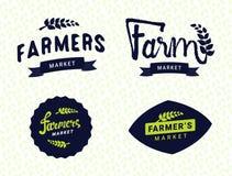 Sistema de los objetos del vector de las plantillas de los logotipos del mercado de los granjeros libre illustration