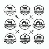Sistema de los objetos del vector de las plantillas de los logotipos del mercado de los granjeros Los logotipos o las insignias d stock de ilustración