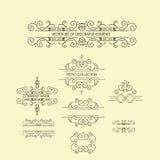 Sistema de los ornamentos del vintage para la invitación, tarjeta de la enhorabuena y de felicitación Imagenes de archivo