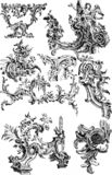 Sistema de los ornamentos de la arquitectura del vintage stock de ilustración