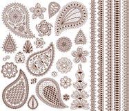 Sistema de los ornamentos orientales para el tatuaje de la alheña y para su diseño stock de ilustración