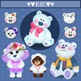 Sistema de los osos de peluche blancos, familia grande stock de ilustración
