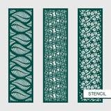 Sistema de los paneles decorativos del vector Plantillas con las hojas, ramas, trébol Temas de la planta libre illustration
