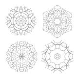 Sistema de los parecer étnicos de Mandala Vector Meditation Tattoo del fractal el copo de nieve o Maya Aztec Pattern o flor aisla Imagen de archivo