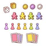 Sistema de los pedazos del juego de mesa stock de ilustración