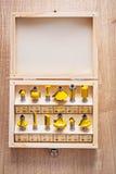 Sistema de los pedazos del router del roundover para la carpintería adentro Foto de archivo libre de regalías