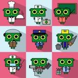 Sistema de los personajes de dibujos animados de diversas profesiones Imágenes de archivo libres de regalías
