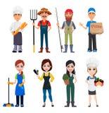 Sistema de los personajes de dibujos animados masculinos y femeninos con diversos empleos ilustración del vector
