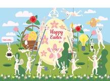 Sistema de los personajes de dibujos animados de Pascua y de los elementos lindos del diseño Conejito, huevos y flores de pascua  ilustración del vector