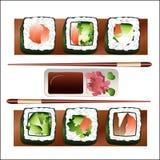 Sistema de los pescados, para la barra de sushi Imágenes de archivo libres de regalías
