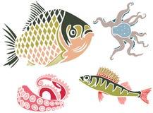 Sistema de los pescados y del pulpo Fotos de archivo libres de regalías