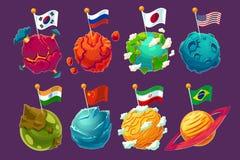 Sistema de los planetas extranjeros de la fantasía de los ejemplos de la historieta del vector con las banderas que agitan en ell libre illustration