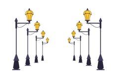 Sistema de los posts de la lámpara de calle Vector Fotos de archivo libres de regalías