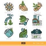 Sistema de los problemas de Eco y de los iconos del web del color del esquema de la decisión Fotos de archivo libres de regalías