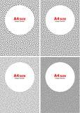 Sistema de los puntos blancos de semitono en Gray Backgrounds, tamaño A4 Fotos de archivo