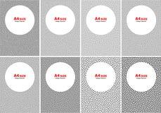 Sistema de los puntos blancos de semitono en Gray Backgrounds, tamaño A4 Fotografía de archivo