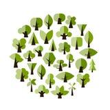 Sistema de los árboles verdes para su diseño Fotografía de archivo libre de regalías