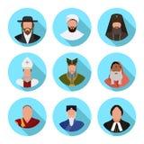 Sistema de los representantes planos de los iconos de denominaciones religiosas en el mundo ilustración del vector