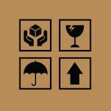 Sistema de los símbolos frágiles para la caja Foto de archivo libre de regalías