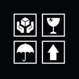 Sistema de los símbolos frágiles para la caja Fotos de archivo