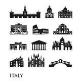 Sistema de los símbolos de Italia, señales en blanco y negro Ilustración del vector Roma, Venecia, Milán, Italia fotos de archivo libres de regalías