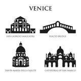 Sistema de los símbolos de Italia, señales en blanco y negro Ilustración del vector Venecia, Italia ilustración del vector