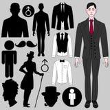 Sistema de los símbolos masculinos stock de ilustración