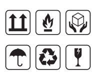 Sistema de los símbolos para las cajas de cartón Fotos de archivo