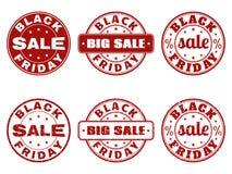 Sistema de los sellos de Black Friday Foto de archivo libre de regalías