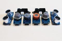 Sistema de los sensores para el gas metano, monóxido de carbono, CO2, ultrasónico fotos de archivo libres de regalías