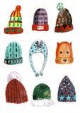 Sistema de los sombreros del invierno de la acuarela, aislado en el fondo blanco stock de ilustración
