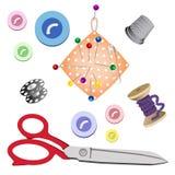 Sistema de los temas para coser en el fondo blanco Foto de archivo libre de regalías