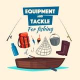 Sistema de los trastos del vector del equipo y del pescador de pesca Foto de archivo libre de regalías